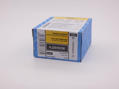Саморез для террасной доски Rusconnect Nano 4,2х55, уменьшенная потайная головка, (200 шт)