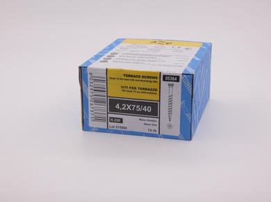 Саморез для террасной доски Rusconnect Nano 4,2х75, уменьшенная потайная головка, (200 шт)