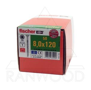 Шурупы Fischer FPF-ST ZPP 8,0х120, c неполной резьбой, потайная головка, (50 шт)