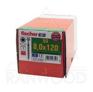 Шуруп по дереву Fischer FPF-HT ZPP 8,0х120, с пресс-шайбой и шестигранной головой, (50 шт)