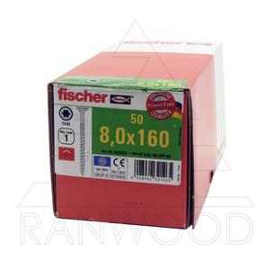 Шурупы Fischer FPF-ST ZPP 8,0х160, c неполной резьбой, потайная головка, (50 шт)