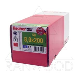 Шурупы Fischer FPF-ST ZPP 8,0х200, c неполной резьбой, потайная головка, (50 шт)