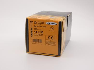 Саморез для террас и фасадов EuroTec 4,5х55, потайная головка, (250 шт)