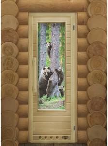 """Дверь для бани """"ЭЛИТ МИШКИ"""" с фотопечатью"""