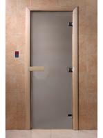 """Дверь для сауны и бани стеклянная  """"ТЕПЛОЕ УТРО"""" сатин (коробка хвоя)"""